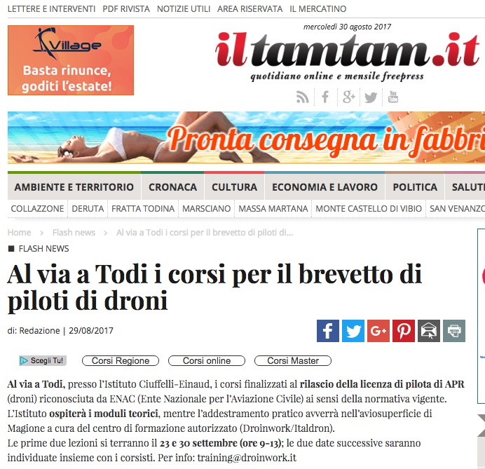 iltamtam.it / Al via i corsi per piloti droni al Ciuffelli