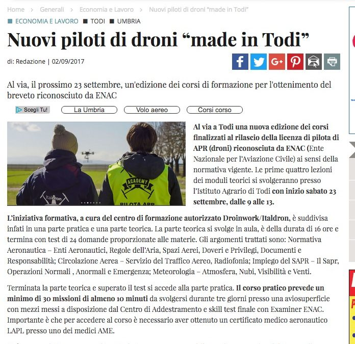 "iltamtam.it / Nuovi piloti di droni ""made in Todi"""